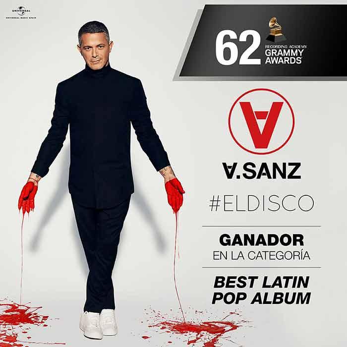 Alejandro Sanz recibe el Grammy Award en la categoría Best Latin Pop Album por #ElDisco